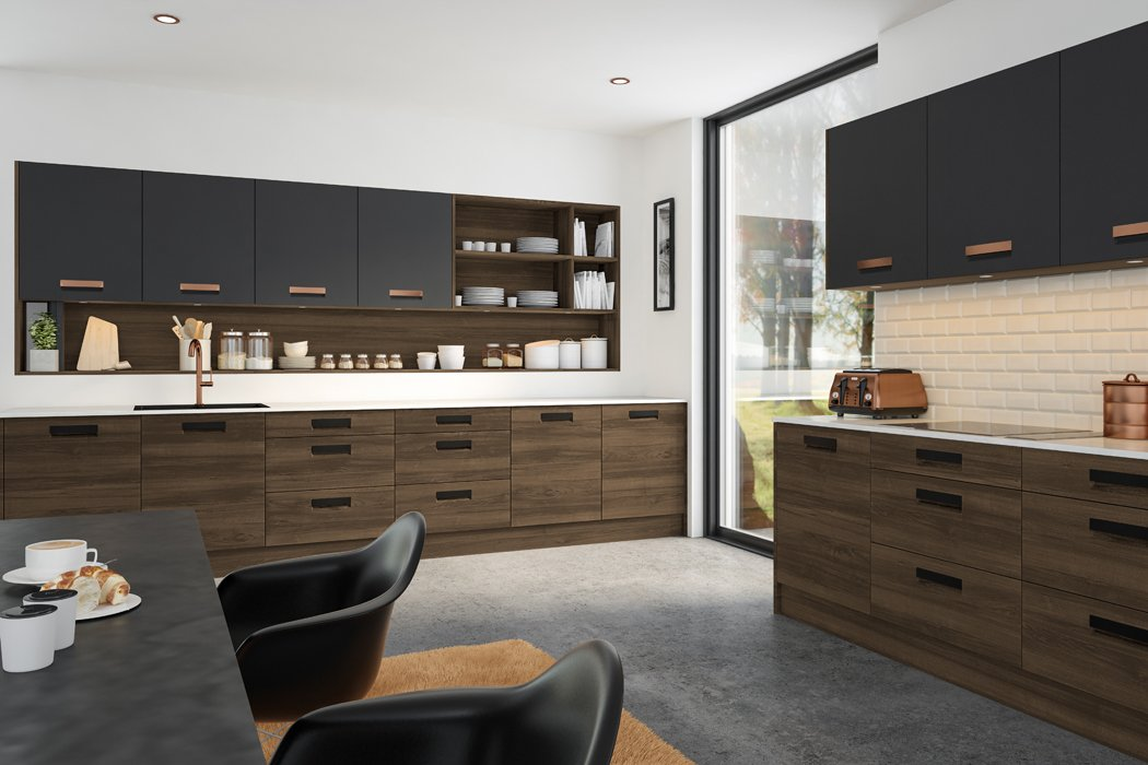 Natural Walnut Graphite Lazio Kitchen