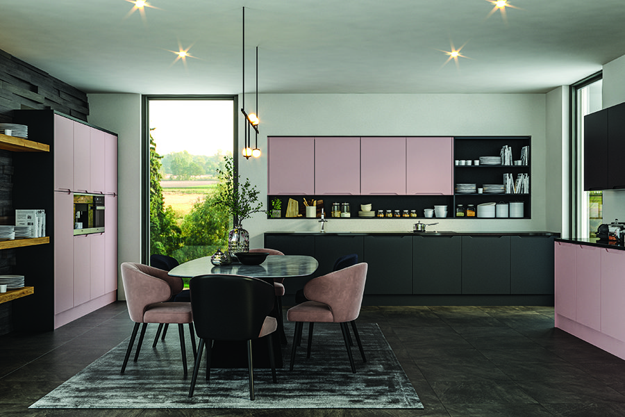 Bella Integra Matt Blush Pink Kitchen