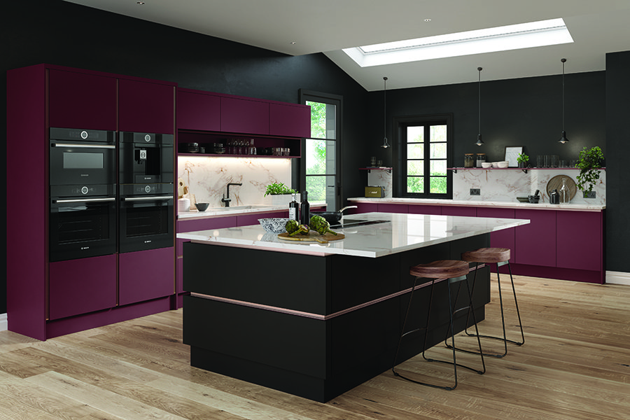 Zurfiz Serica Matt Plum and Serica Matt Black Kitchen