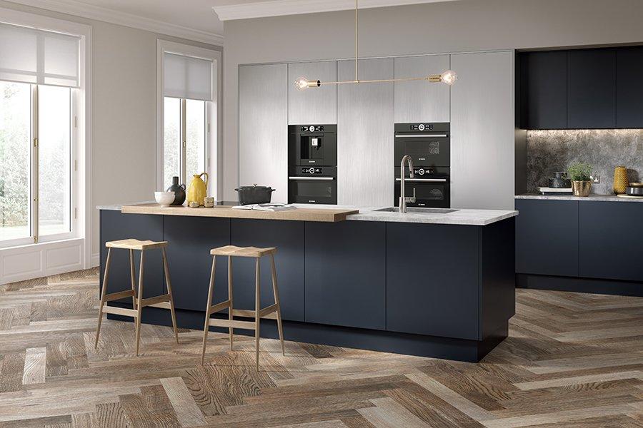 Zurfiz Serica Matt Indigo Blue and Brushed Metal Stainless Steel Kitchen