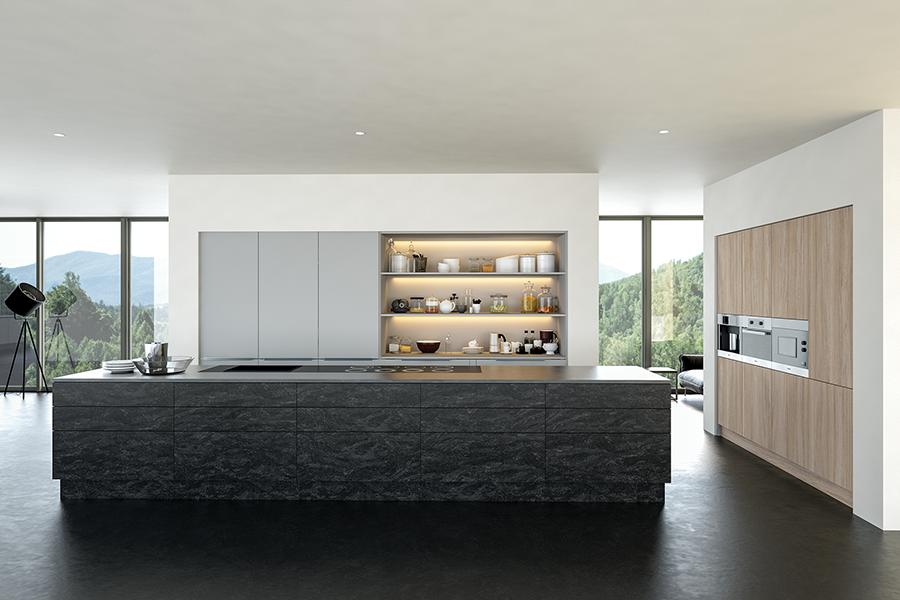 Valore Evora Stone Graphite Light Grey and Urban Oak Kitchen