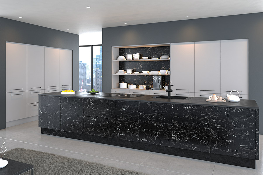 Valore Light Grey and Oriental Black Kitchen